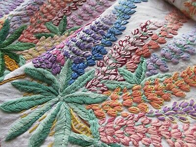 Vintage Heavily Hand Embroidered Linen Tablecloth-SUPERB RAISED LUPIN FLOWERS