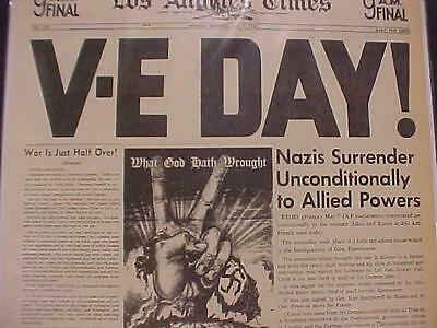 Vintage Newspaper Headline~World War 2 Nazi Army Surrenders Victory V-E Day Wwii