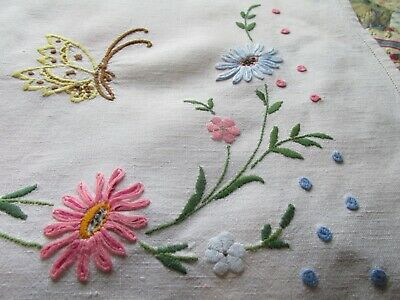 Vintage Hand Embroidered Irish Linen Tablecloth-BEAUTIFUL RIBBON TIED FLORAL'S