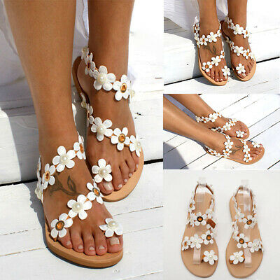 Womens Boho Flowe Sandals Ladies Summer Holiday Beach Flip Flop Flat Shoes Size