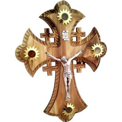 Two layers of olivewood Crucifix with Holy Land samples - Essences