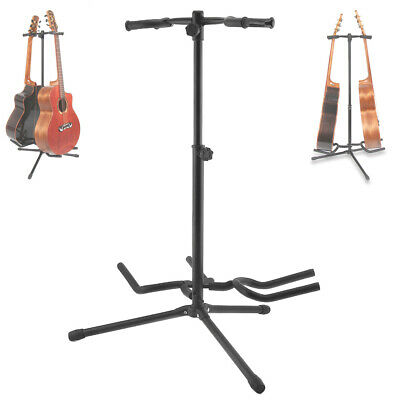 Portable Folding Guitar Stand Electric Acoustic Bass Floor Rack Holder 2 Display