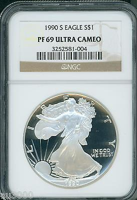1990-S American Silver Eagle ASE S$1 NGC PF69 PR69 PROOF PQ