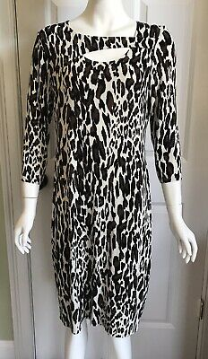 7a3053ead1 EUC CHICO S 1 Travel Knit Travelers Leopard Print Cutout Sheath Dress 8 10
