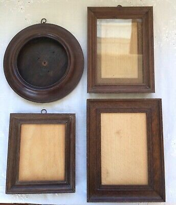 Collection 4 Vintage Picture Photo Frames Oak & Mahogany