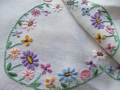 Vintage Hand Embroidered Linen Tablecloth-PRETTY PASTELS