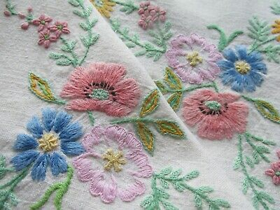 """Vintage Hand Embroidered Linen Tablecloth 50""""x49""""-SUPERB DETAIL FLOWERS"""