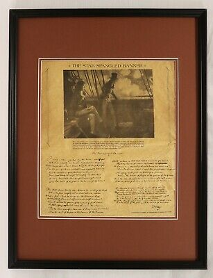 The Star Spangled Banner Lyrics Framed 18x24 Parchment Paper Reproduction