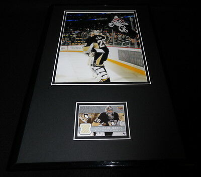Marc Andre Fleury Framed 11x17 Game Used Jersey & Photo Display Penguins