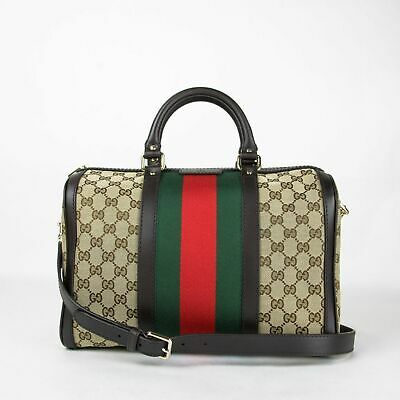 48118ffdaf9 Gucci Beige Brown GG Canvas Vintage Web Boston Bag GRG Web 247205 9791