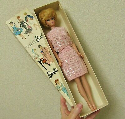 Vintage Blonde Bubblecut Barbie Only Doll Winter Holiday 1St First Issue