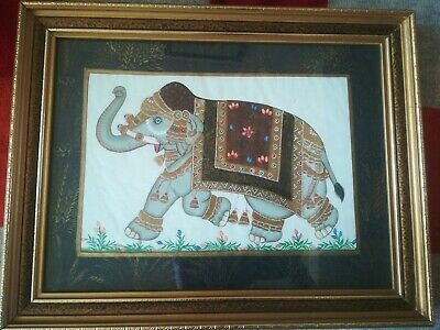 Vintage Indian Elephant Ornate Picture Painting On Silk 14 X 11 Inches