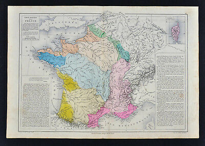 1885 Drioux Map France Physical Mountains Volcano Geology French Alps Mont Blanc