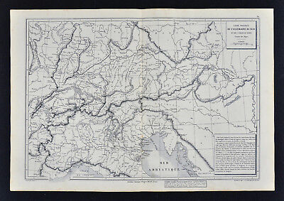 1885 Drioux Map Physical Europe Germany Switzerland Italy Austria Alps Mountains