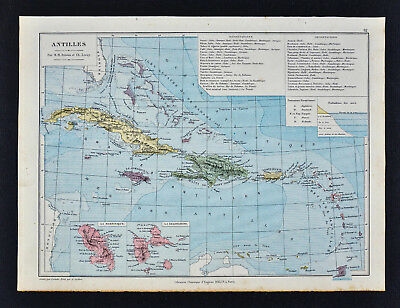 1885 Drioux Map - Antilles - Cuba Jamaica Porto Rico Caribbean Sea West Indies