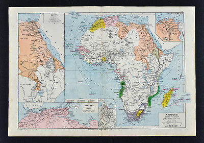 1885 Drioux Map - Africa - European Colonies Egypt Morocco Senegambia South