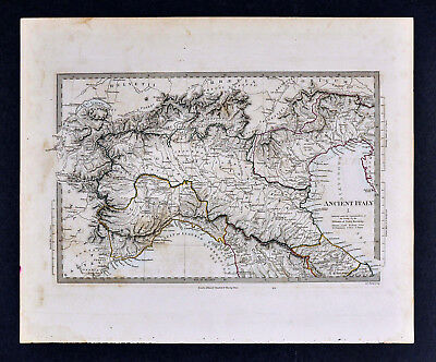 1844 SDUK Map - Ancient North Italy Roman Etruria Venice Venetia Liguria Gallia