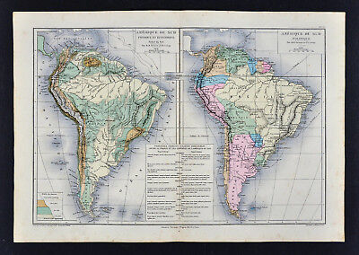 1885 Drioux Map - South America Political & Physical Brazil Argentina Chile Peru