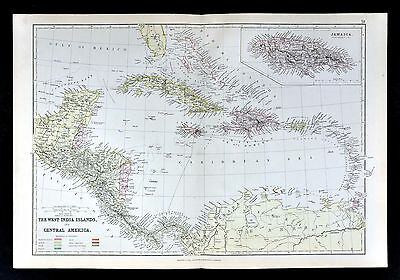 1883 Blackie Map - West Indies & Central America Cuba Jamaica Yucatan Costa Rica