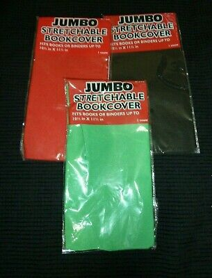 Book Binder Cover Stretchable Jumbo Lot of 3 green black red