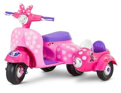 0bd0817b9e120 Kid Trax 6V Minnie Mouse Happy Helpers Scooter W  Sidecar Ride-On   distressed