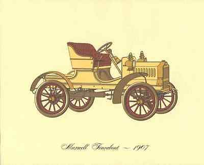 Antique Car 1907 Maxwell Tourabout Lithograph Color Tipped Automobile Print