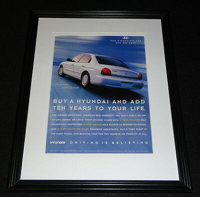 1999 Hyundai Sonata Framed 11x14 ORIGINAL Advertisement
