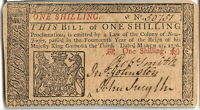 New Jersey One Shilling American Revolution 1776 March 25 Currency Note - BA668