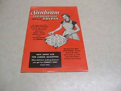 1956 Sunbeam Controlled Heat Electric Frypan Booklet
