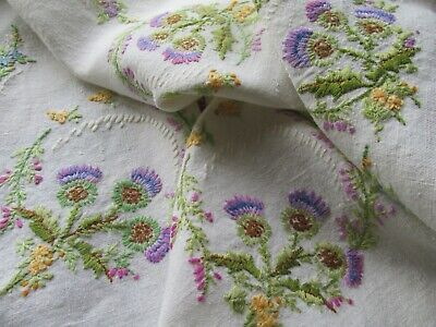 Vintage Hand Embroidered Linen Tablecloth-BEAUTIFUL SCOTTISH THISTLE & HEATHER