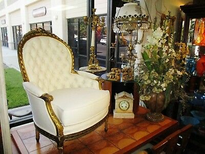 Vintage Victorian French Louis Xvi Gold Gilding Tufted Boudoir Chair