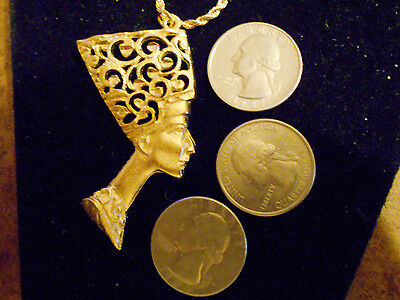 bling gold plated MYTH GODDESS egyptian queen pendant Charm Necklace JEWELRY gp