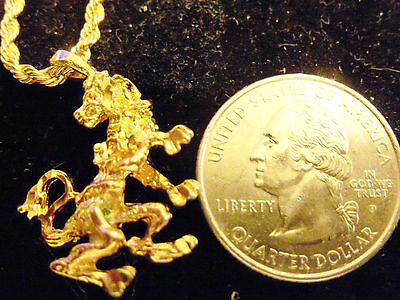 bling gold plated lion zodiac astrology PENDANT charm hip hop necklace jewelry