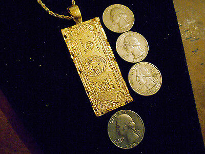 bling gold plated 100 dollar bill casino rapper pendant necklace hip hop jewelry