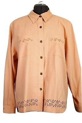 f0a6e8ad40 NWT Alfred Dunner Women's 18P Apricot Suede Blouse Long Sleeve Stamp Cut  Florals