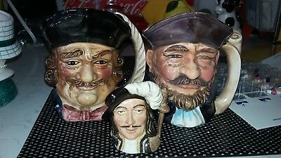 "3 HEAD VASES 2 LARGE Mugs CANADIAN 5"" 1 SMALL DOULTON 3"" Vintage LOT OF 3"