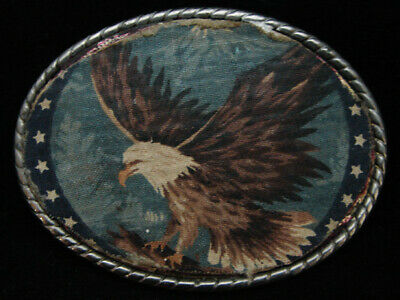 NH09109 VINTAGE 1980s **AMERICAN BALD EAGLE** PATRIOTIC ROCKMOUNT BELT BUCKLE