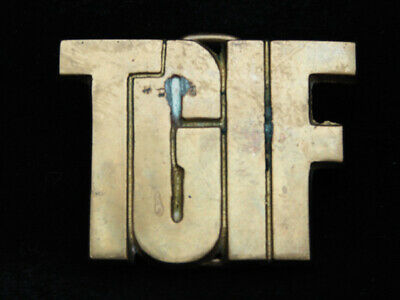 Pb05108 Vintage 1978 Cut-Out **Tgif** Solid Brass Baron Belt Buckle