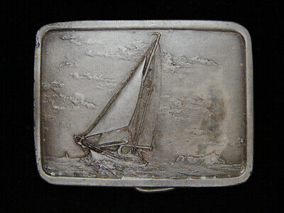 Of01101 Vintage 1978 **Sail Boat On The Ocean** Art Pewter Indiana Metal Buckle