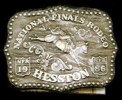 Lj04124 *Nos* Vintage 1986 ***National Finals Rodeo*** Nfr Hesston Youth Buckle