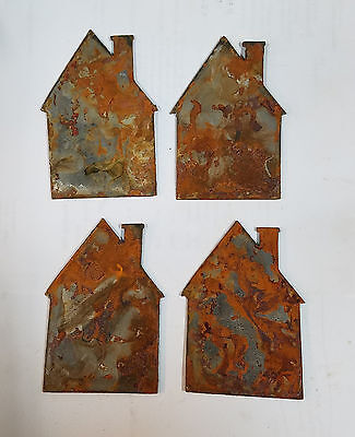 "Lot of 4 Cabin House Home Shapes 3"" Rusty Metal Vintage Ornament Craft DIY Sign"