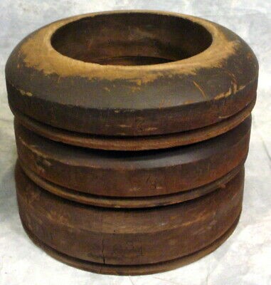 Antique Lot Of 3-Wooden Hat Mold Brim Blocks--  All 901