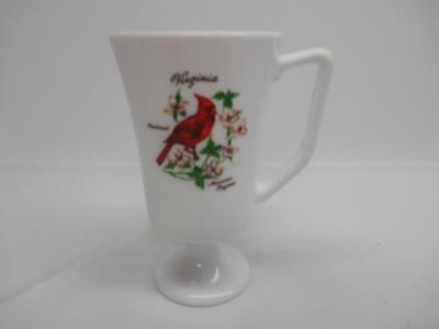 Old Vtg MILK GLASS VIRGINIA COFFEE CUP MUG PEDESTAL TRAVEL SOUVENIR Decorative