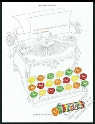 1950 Life Savers candy as typewriter vintage print ad