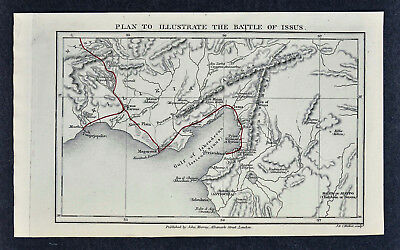 c 1850 Murray Map - Battle of Issus - Alexander the Great IskenderunTurkey Greek