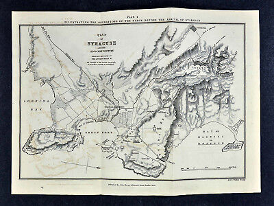 1849 Ancient Greece Map - Plan of Syracuse before Gylippus Siege - Sicily Italy