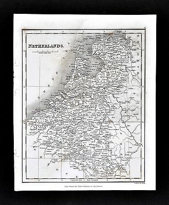 1827 Neele Map - Netherlands - Holland Belgium Luxembourg Amsterdam Brussels