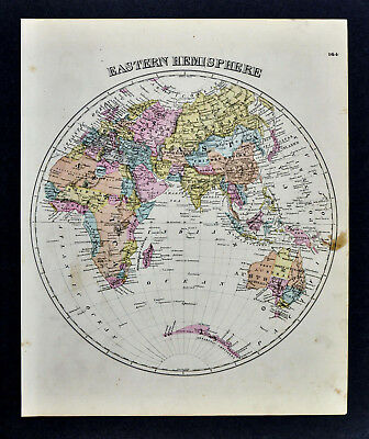 1876 Beers World Map Eastern Hemisphere Africa Asia Europe Australia Antarctica