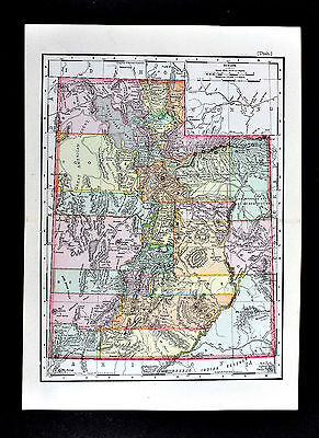 1895 Rand McNally Map - Utah - Salt Lake City - Moab Ogen Provo Mountains etc.