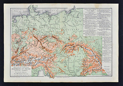 1885 Drioux Map Physical Europe Germany Austria Hungary Empire Switzerland Alps